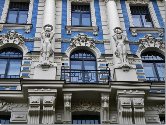 Detail van gebouw van Mikhail Eisenstein, Elisabethlaan, Riga