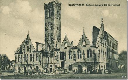 Dendermonde - Vernield stadhuis 1914