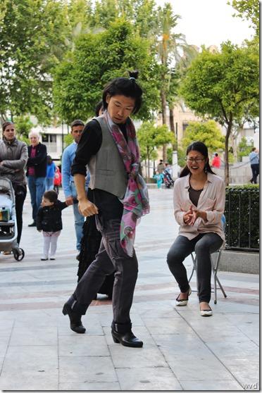 Japanse flamencodansers op de Plaza Nueva in Sevilla - 18 mei 2013