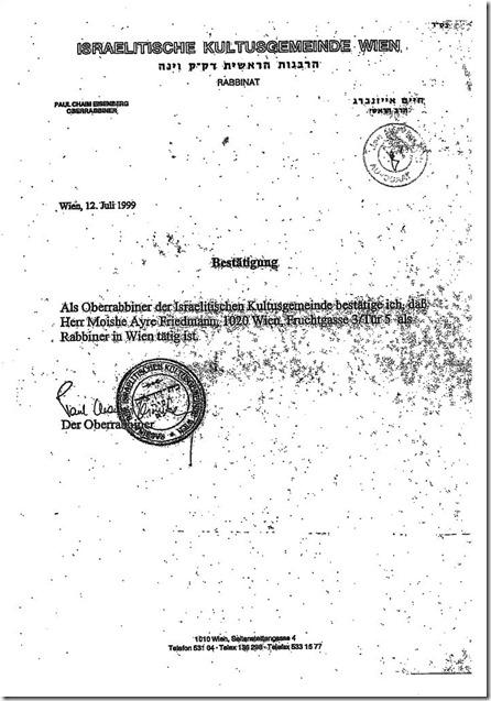 Rabbijn bevestiging Weens opperrabbijn - Moshe Friedman - 12 juli 1999