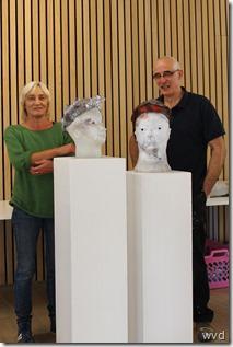 Ingrid Rosschaert en Martin Claessens bij werk van Amoruso Giampaolo