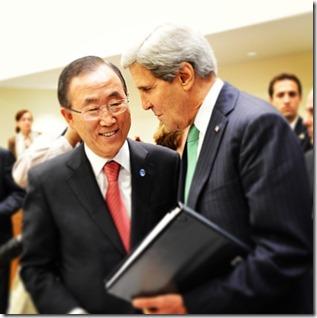 Ban Ki-moon en John Kerry