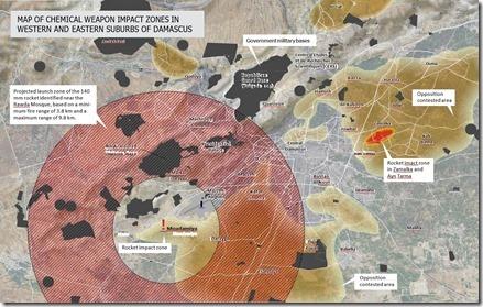 Gifgasaanval - 21-08-2013 - Kaart inslagen Damascus