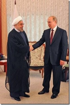 Vladimir Poetin en de Iraanse president Hassan Rouhani