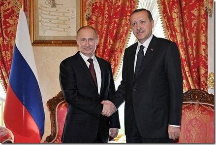 Vladimir Poetin en Reccep Erdogan, Turkse premier