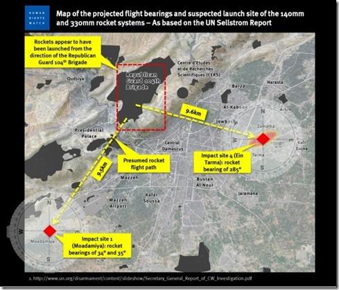 Kaart - Coördinaten HRW Syrische gifgasaanval van 21-08-2013