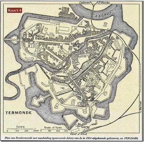Dendermonde - Toestand vernielingen van 4 september 1914 Dender