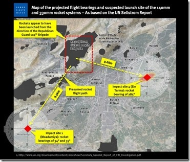 Map produced by HRW on the sarin attack of the 21ste of August 2013 near Damascus