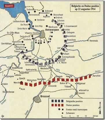 Positie troepen op 22 augustus 1914