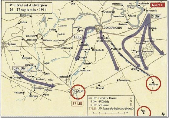 Tegenaanval Belgisch leger vanuit de regio Dendermonde van 26-2