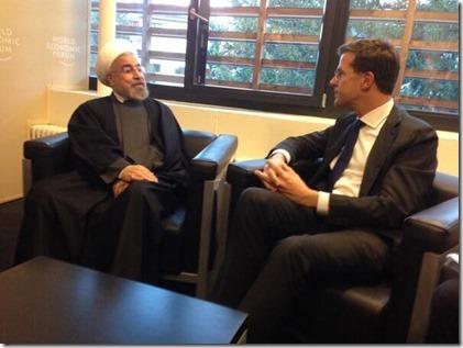 Hassan Rouhani en Mark Rutte