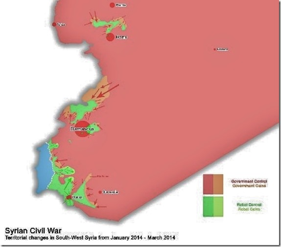 Slagveld - Evolutie Zuid-Syrië - Eerste kwartaal 2014