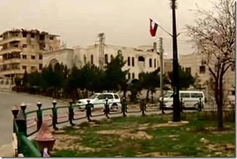Yabroed met Syrische vlag