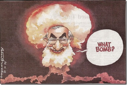 Khamenei als atoompaddenstoel - Cartoon - The Times - 26 novemb