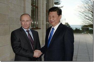 China's president Xi Jinping met de Russische president Vladimir Poetin