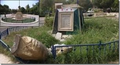 Rakka - Vernieling standbeeld Haroen de Rechtvaardige ( alias Haroen al Rasheed) - 1