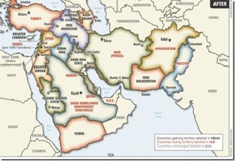 Kaart van het Midden-Oosten - Amerikaanse kolonel Ralph Peters - Armed Forces Journal Juni 2006