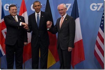 Manuel Barroso met Barack Obama en Herman Van Rompuy