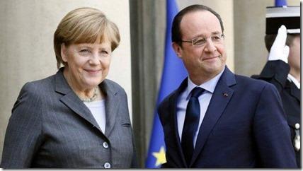 François Hollande en Angela Merkel