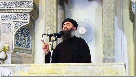 Ibraaheem 'Awwaad Ibraaheem 'Ali Al-Badri Al-Saamirraa`iy, alias Abu Bakr Al-Baghdaadi - In moskee in Mosoel - 5-07-2014