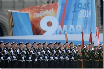 Overwinningsmars Russisch leger - Kremlin - 9 mei 2014