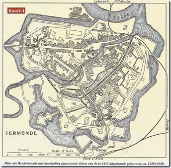 Dendermonde - Plattegrond met vermelding vernielde woningen - 8
