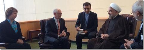 Hassan Rouhani met Herman Van Rompuy en Catherine Ashton