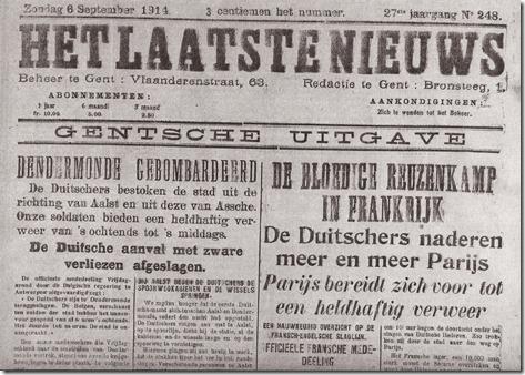 Het Laatste Nieuws - 6 september 1914 - Verovering van Dendermo