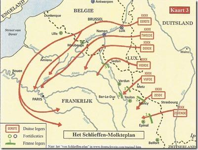 Het Schlieffen-Moltkeplan voor de aanval op Frankrijk 1914