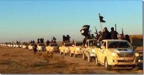 ISIS met colonne Toyota's