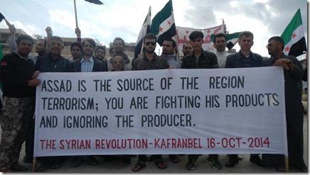 Kafranbel - 16 oktober 2014 - Protest tegen Amerikaanse bombardementen