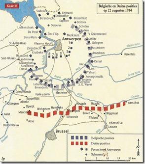 Belgische en Duitse posities op 22 augustus 1914