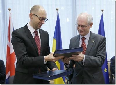 Herman Van Rompuy met Arseni Jatsenjoek, Premier van Oekraïne - 1