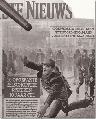 Vakbondsactie 24 november 2014 - Het Laatste Nieuws - Voorpagin