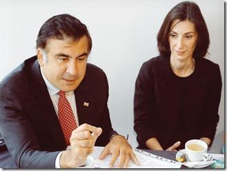 Eka Zguladze en Michail Saakasjvili, ex-president van Georgië