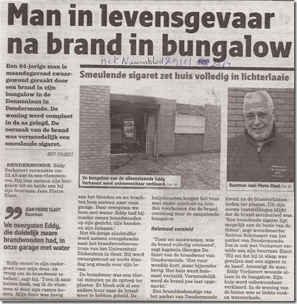Brand woning - Het Nieuwsblad 29 januari 2014
