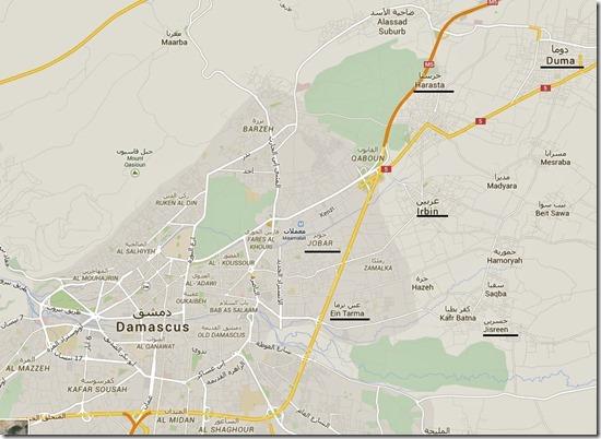 Damascus - Oost-Goettta - kaart