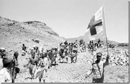 Burgeroorlog 1962-1968 - Kolonne met vluchtelingen van het Rode Kruis-Rode Halve Maan