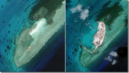 Vurig Kruis rif - Zuid-Chinese Zee - Bouwwerken - April 2015