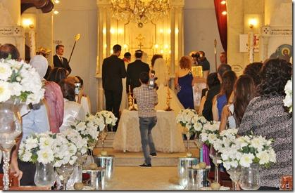 Huwelijksfeest in de Syrische Orthodoxe kerk in de oude stad van Damascus
