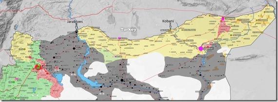 Turks-Syrische grens - Toestand Oktober 2015