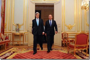 John Kerry met Sergeï Lavrow, minister van Buitenlandse Zaken van Rusland
