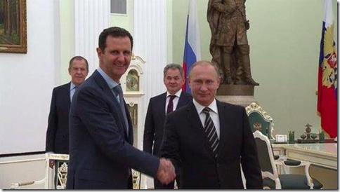 Bashar al Assad met Vladimir Putin en Sergeï Lavrov - 20-10-2015