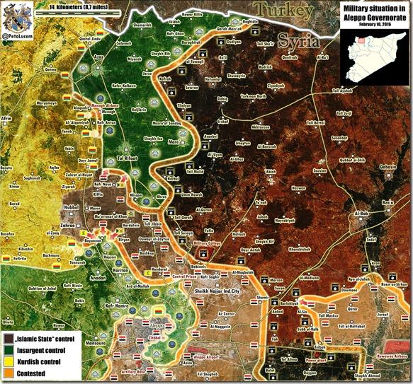 Aleppo - 58 - Noord en Oost - Militaire situatie - 10 februari 2016