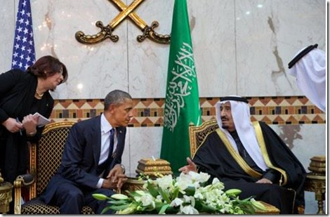 Barack Obama met Koning Salman van Saoedi Arabië