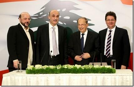 Michel Aoun en Samir Geagea - 18-01-2016
