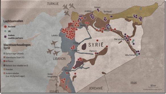 De Standaard - Kaart militaire situatie in Syrië - 4 maart 2016