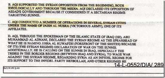 DIA - Rapport 12 augustus 2012 - Syrië, Irak, al Qaeda en ISIS