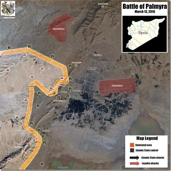 Palmyra-Tadmud - Militaire situatie - 10 - 13 maart 2016