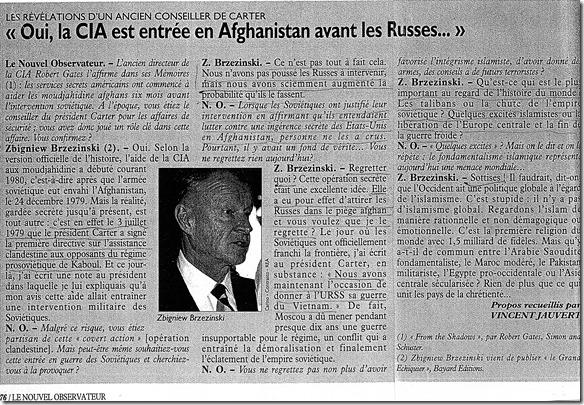 Zbigniew Brzezinski - Afghanistan - Le Nouvel Observateur - 15-21-01-2009